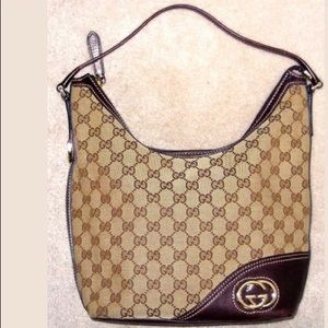 GUCCI HOBO SHOULDER BAG GG FABRIC BROWN LEATHER EC